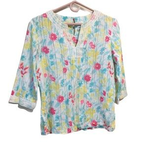 Alfred Dunner Bright Floral Cotton Tunic